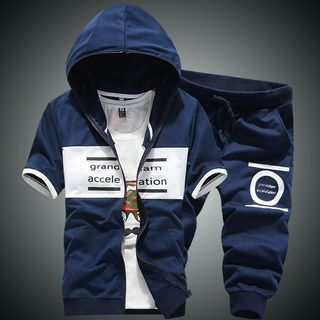 Set: Hooded Short-Sleeve Lettering Jacket + Cropped Sweatpants 1049074236