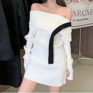 Off-shoulder Mini Bodycon Sweater Dress White - One Size