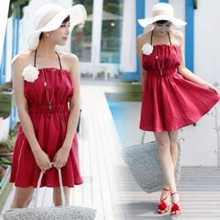 Buy IT GIRL STYLE Halter Shirred Dress 1022872987