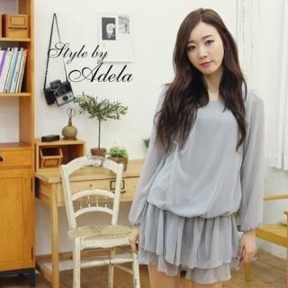 Picture of Adela Shop Long-Sleeve Drop-Waist Chiffon Minidress 1022250879 (Adela Shop Dresses, Womens Dresses, South Korea Dresses, Chiffon Dresses, Long-Sleeve Dresses)