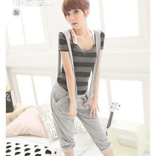 Buy eFashion Pleated Suspender Pants 1023018486