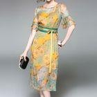 Set: Floral Print Elbow-Sleeve Midi Dress + Strappy Dress 1596