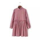 Long-Sleeve Frilled-Trim Check Dress 1596