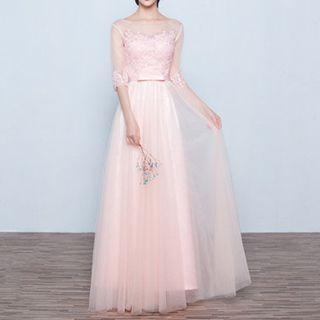 Mesh Panel Elbow-Sleeve A-Line Evening Gown 1050073268