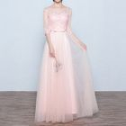 Mesh Panel Elbow-Sleeve A-Line Evening Gown 1596