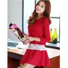 Set : Lace Panel Knit Top + Skirt 1596