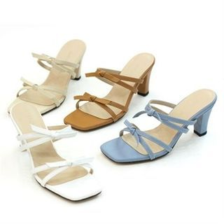 Image of Genuine Leather Bow-Trim Slide Sandals