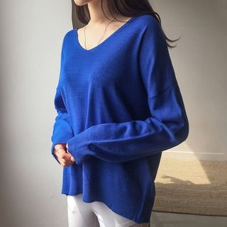V-Neck Drop-Shoulder Knit Top 1065742293