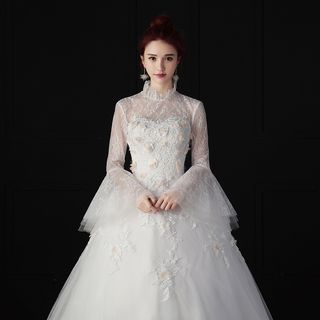 Image of Lace Bell-Sleeve Wedding Ball Gown