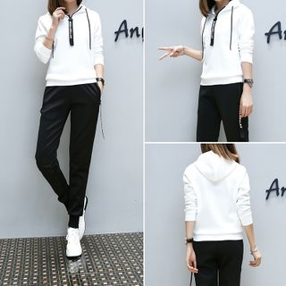 Image of Hoodie / Pullover / Cropped Harem Pants / Cropped Straight-Fit Pants / Set
