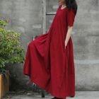 Short-Sleeve A-line Maxi Dress 1596