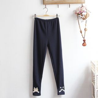 Image of Cat Embroidered Leggings