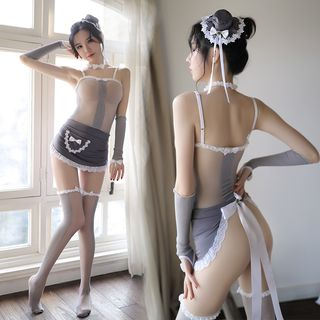 Image of Lingerie Maid Set With Hair Accessories & Fingerless Gloves & Over-The-Knee Socks - Lingerie Maid Set - One Size