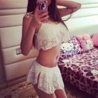Set: Lace Bikini Top + Swim Skirt 1596