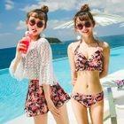 Set: Print Bikini + Cover-Up Top + Skirt 1596