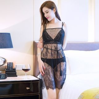Set: Lace Nightdress + Thongs 1056982745