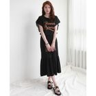 Band-Waist Frill-Hem Long Skirt 1596