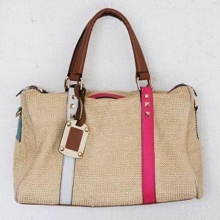 Buy ZOAQT Contrast-Trim Straw Boston Bag with Cross Strap 1023034629