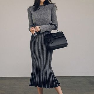 Set: Slit-Sleeve Sweater + Midi Knit Skirt 1063543566