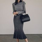 Set: Slit-Sleeve Sweater + Midi Knit Skirt 1596