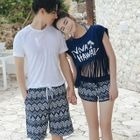 Couple Matching Set: Printed Bikini + Swim Shorts + Cover-Up / Printed Shorts 1596
