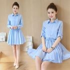 Elbow-Sleeve Shirt Dress 1596