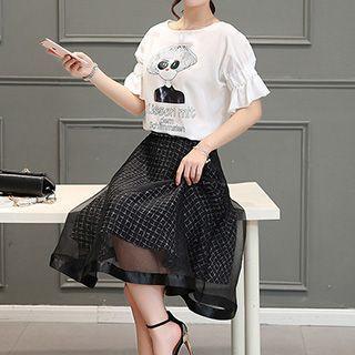 set-printed-frill-sleeve-t-shirt-skirt