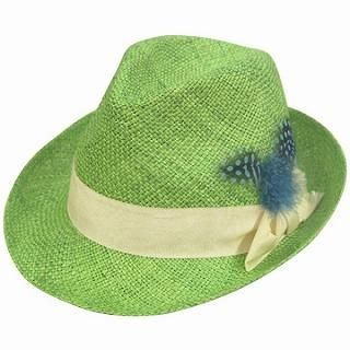 Buy GRACE Feather-Accent Fedora Lime Green – One Size 1022190359