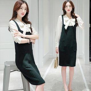 Ribbed Knit Suspender Dress 1054785043