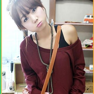 Picture of SHY SHY Long-Sleeve Scoopneck Oversized Top 1021873149 (SHY SHY Tees, Womens Tees, Hong Kong Tees, Causal Tops)