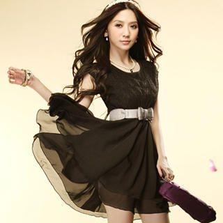 Buy Tokyo Fashion Sleeveless Lace-Bodice Chiffon Dress 1022883102