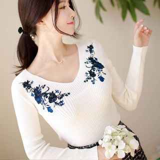 V-Neck Long-Sleeve Embroidered Slim-Fit Ribbed Knit Top 1062134669