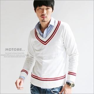 Buy MOTOBE Stripe Trim V-Neck Sweater 1021385585