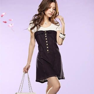 Buy Tokyo Fashion Buttoned Color-Block Dress 1022484500