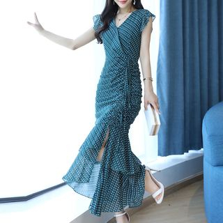 Romantica Sleeveless Printed Ruffled Dress