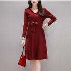 3/4-Sleeve Tie-Waist Knit Dress 1596