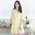 Elbow-Sleeve Frilled-Trim Plain Dress 1596