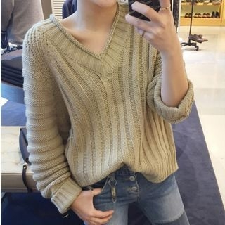 Ribbed Knit V-Neck Sweater 1053105493