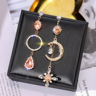 Image of Asymmetric Rhinestone Dangle Earring 1 Pair - 925 Silver Stud - Star & Moon - Gold - One Size