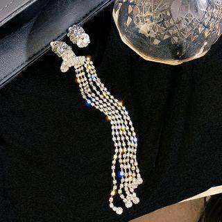 Image of Asymmetric Rhinestone Drop Earring 1 Pair - Silver - One Size