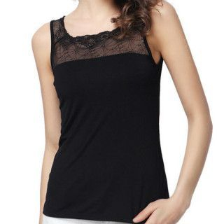 Lace Panel Sleeveless Top 1045494246