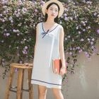 Bow Sleeveless V-Neck Dress 1596