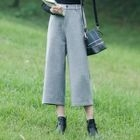 Plain Woolen Wide-Leg Pants 1596