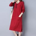 Chinese Frog Button Long-Sleeve Dress 1596