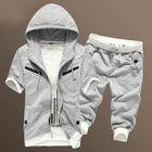Set: Short-Sleeve Hooded Zip Jacket + Drawstring Contrast-Trim Cropped Pants 1596