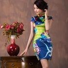 Cap-Sleeve Print Silk Cheongsam 1596