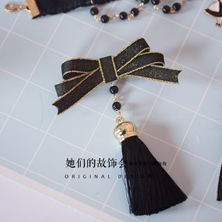 Bow-Accent Tassel Hair Clip 1061113360