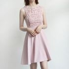 Crochet Lace Panel Sleeveless A-line Dress 1596