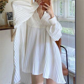 V-neck Long-sleeve Knit Dress