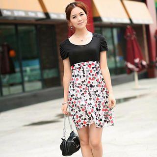 Buy Aza Short-Sleeve Heart-Print Panel Dress 1022931260